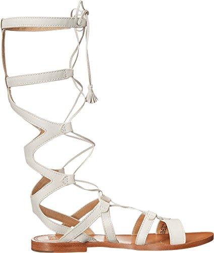 Sandalo Gladiatore Donna Ruth Alto Gladiatore Bianco Morbido Pieno Fiore