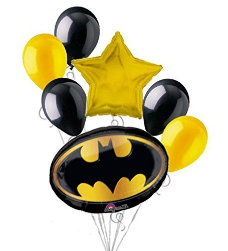 7 pc Batman Emblem Balloon Bouquet Party Decoration Happy Birthday Super Hero -