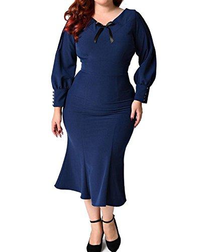 Daci Women's Plus Size 1930s Style V Neck Bowknot Long Puff Sleeve Wiggle Bodycon Dress Navy Blue 16W