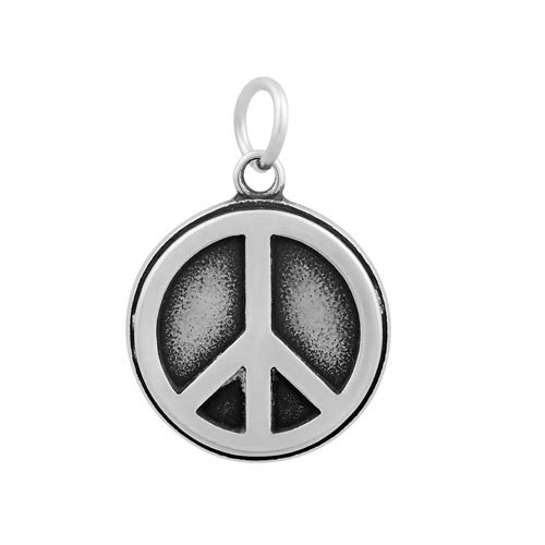 UNICRAFTABLE 10PCS Antique Silver Flat Round 316 Stainless Steel Pendants with Peace Sign Large Hole Charms for Jewelry Findings Bracelet Necklace Making 23x19x2.5mm, Hole 5mm
