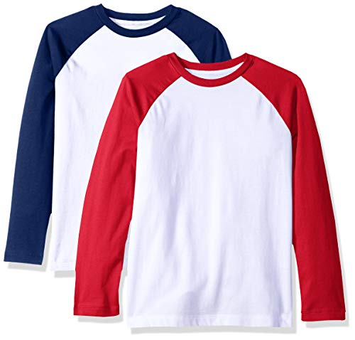 Amazon Essentials Big Boys' 2-Pack Raglan Tee, Blue Depths White with Tango red Sleeve, L ()