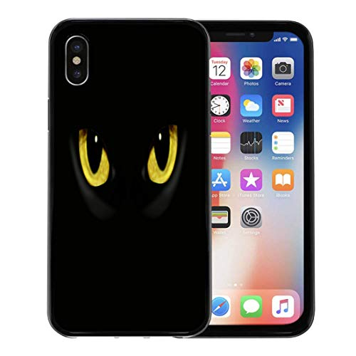 Semtomn Phone Case for Apple iPhone Xs case,Yellow Panther Cat Eyes in Dark Night Green Black Animal Halloween for iPhone X Case,Rubber Border Protective Case,Black]()