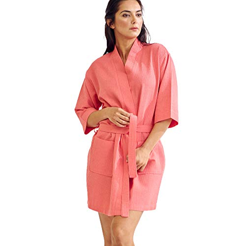 Lightweight Knee-Length Waffle Kimono Robe, Bridesmaids and Spa Bathrobe (Small/Medium, Coral) ()