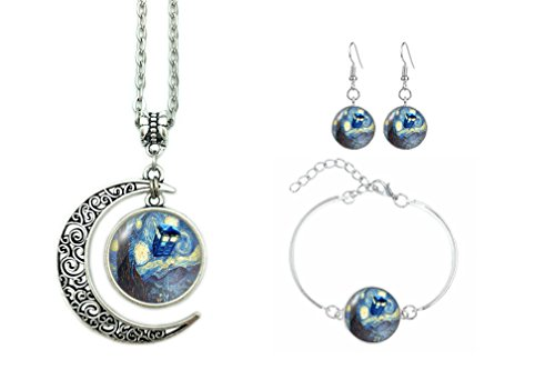 ALNDA Moon Necklace Doctor Who The Tardis Crescent Pendant Vincent Van Gogh Starry Night Charms Gift for Women (Necklace+Bracelet+Earrings) (Doctor Who Nose Ring)