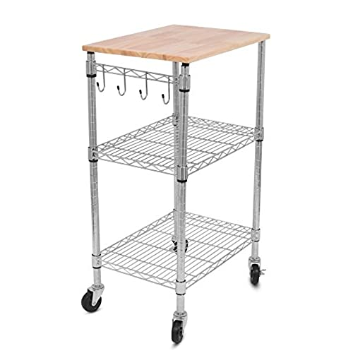 Internetu0027s Best 3 Tier Kitchen Cart With Locking Wheels, Removable Cutting  Board, 4 Hooks For Cooking Utensils And Extra Rolling Adjustable Shelving  Unit