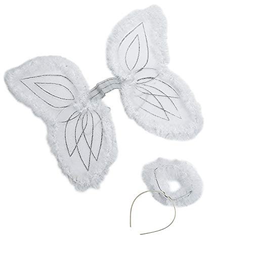 4E's Novelty Christmas Nylon White Marabou Angel Wings Costume for Kids & Halo Headband, Party Accessory for Boys and Girls