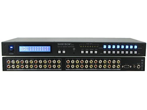 Rackmount Video - Shinybow 8x8 (8:8) Composite RCA Audio Video A/V Matrix Switcher with RS-232/Rack Mount SB-5548LCM