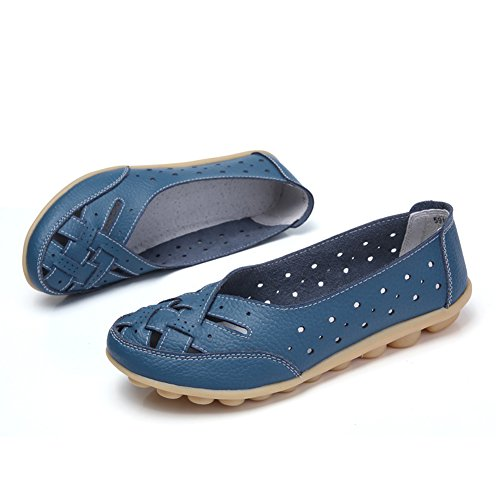 Blivener Womens Casual Loafers Holle Platte Schoenen Blauwe Schoenen