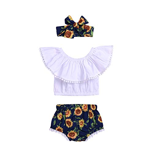 Toddler Baby Girls Off-Shoulder Shirt Top+Sunflower Tassel Short Pants Summer Clothes Outfit 3Pcs Set (Sunflower, 12-18 Months )