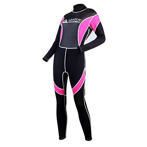 Leader Accessories Women's Wetsuit 2.5mm Black/Pink Fullsuit Jumpsuit Wetsuit(Medium) Jumpsuit Medium Wetsuits