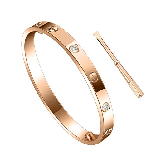 SHIRIA Unisex Love Bracelet Bracelet Stainless Steel Bracelet Couple Bracelet Gift & Screwdriver Bracelet Valentine's Day Wedding (Rose Gold with Diamond, 20cm)