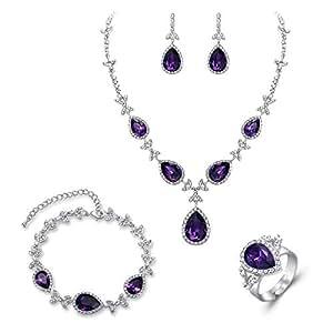 Amazon.com: BriLove Wedding Bridal Necklace Earrings