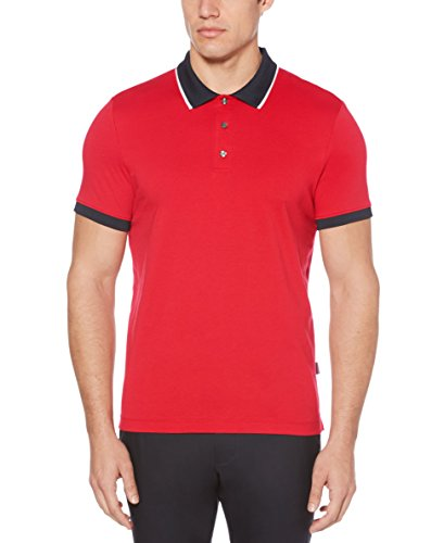 Perry Ellis Men's Dipped Collar Pima Cotton Polo, Haute red, Small