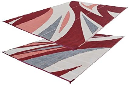 Amazon Com Rv Patio Mat Burgandy Wave Rv Mat 9x12 Sports Outdoors