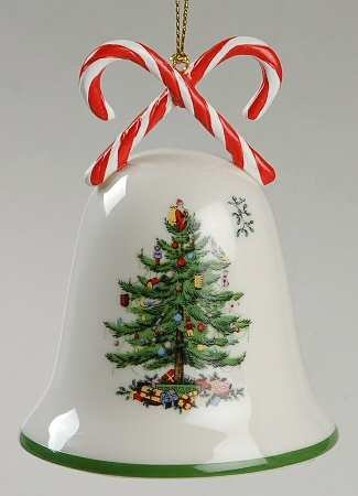 Spode Christmas Tree Bell Ornament With Candy Canes