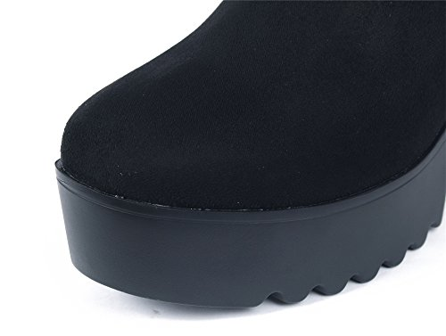 AgeeMi Shoes Mujer Cordón Elástico Suede Tacón Alto Caña Baja Botas Negro