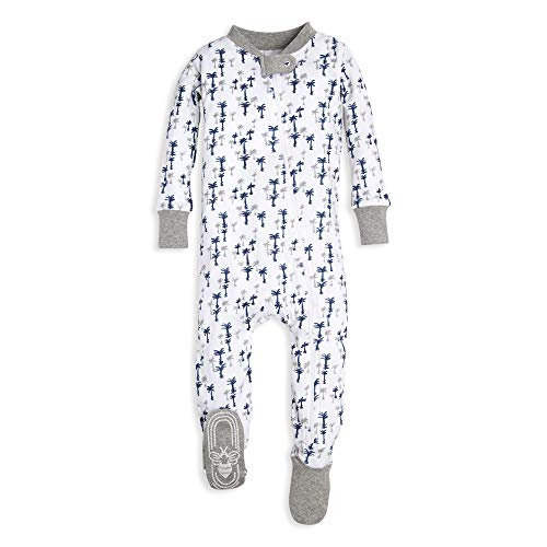 Burt's Bees Baby Baby Boys Unisex Pajamas, Zip-Front Non-Slip Footed Sleeper PJs, Organic Cotton, Breezy Palms, 6-9 - Snap Boys Baby Front