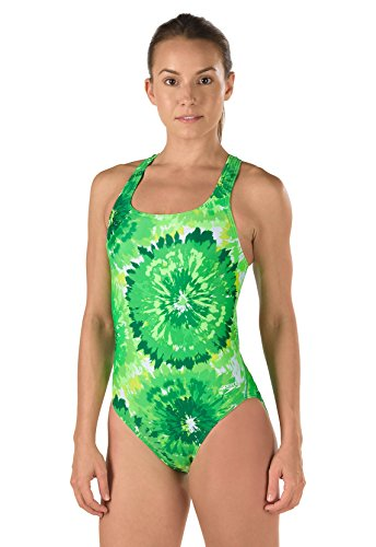 f712d3e62224b Speedo 7719639 Womens Burst Drop Back Powerflex Eco One Piece Swimsuit,  Green (320-003) - 26