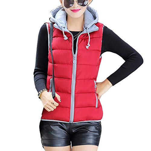 Weight Puffer Red Coat Sleeveless Down Jacket Vest Hooded Light GladiolusA Gilet Women's Wine 4qzw7wF0