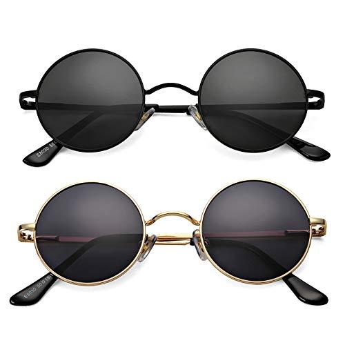 Braylenz 2 Pack Trendy Small Round Polarized Sunglasses for Women Men, Retro John Lennon Hippie Style Shades Glasses (Black/B