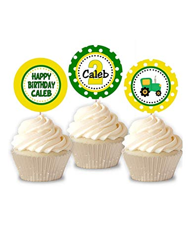 Personalize TRACTOR Birthday Cupcake Toppers Set of 12