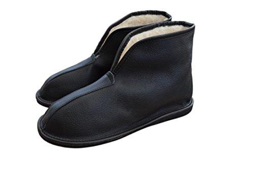 Herren Hausschuhe 3 Unisex Schafwolle Größe Schwarz und Damen Leder Stiefel 12 Natural Ausgekleidet R4q54S