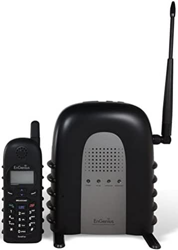 EnGenius DuraFon 1X Industrial Enables Long-Range Cordless Phone System With 2-Way Radio, Six times as powerful as the average cordless phone (708mW peak RF output), Handsets are shock-absorbent and w