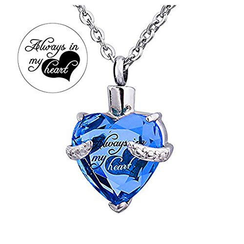 Always in My Heart 12 Birthstone Crystal Urn Necklace Heart Memorial Keepsake Pendant Ash Holder Cremation Jewelry for Ashes (Sep.)