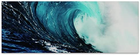 Empire Art Direct Blue Wave 2 Frameless Free Floating Tempered Glass Panel Graphic Teal Sea Wall Art