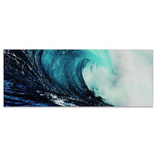 - Empire Art Direct Blue Wave 2 Frameless Free Floating Tempered Glass Panel Graphic Teal Sea Wall Art, 63