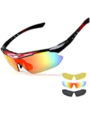 NEWROAD Cycling Glasses with 3 Set of Interchangeable Clear Lens UV 400 Protection Polarized Sports Sunglasses Superlight Frame All Outdoor Activities Fishing Driving Eye Protective Glasses Women&Men