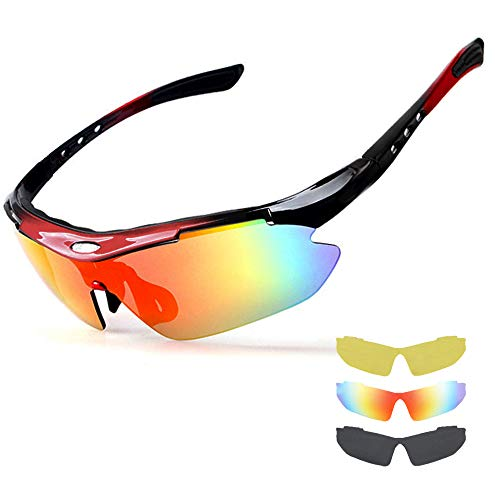 NEW RUICHENG Cycling Bike Sunglasses Polarized Sports Glasses UV400 Protection with 3 Interchangeable Lenses for Men Women