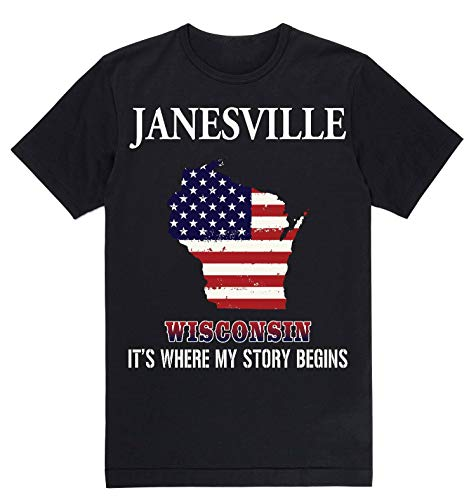 Lovely Decorations Independence Day Shirt - Janesville Wisconsin WI It's Where My Story Begins Black