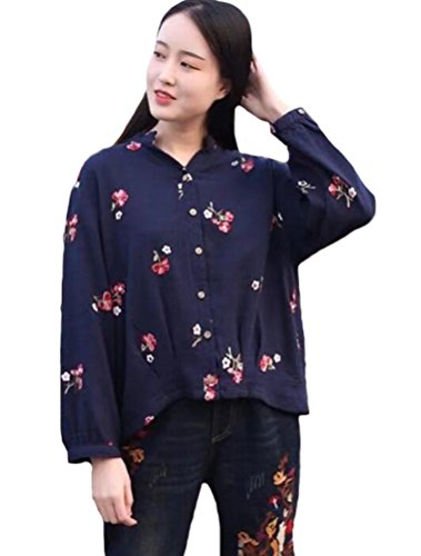 MatchLife Femme Casual Top Floral T-Shirt Haut Classique Bleu Fonc