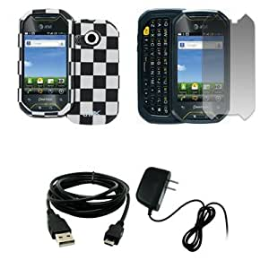 EMPIRE Black and White Checkered Design Hard Case Cover + Screen Protector + Home Wall Charger + USB Data Cable for AT&T Pantech Crossover