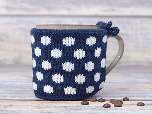 Navy Coffee Mug Warmer Knitted Tea Cosy Teacup Sweater Cup Cozy Knit Coffee Sleeve Polka Dot