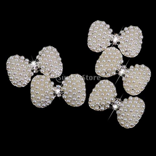 Rhinestone Pearl Flatback - Bowknot Bows Flatback Rhinestone Pearl Flat Back Cabochon 5pcs - Rhinestone Hair Bridal Belt Long Trim Earrings Flatback Statement Baseball Jewelry Brooch Cages S