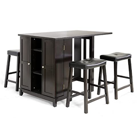 Baxton Studio 5-Piece Aurora Modern Pub Table Set with Cabinet Base, Dark Brown - Pub Table Dinette