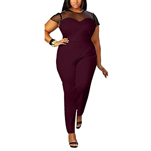 Hot Leezeshaw Women's Lace Hollow-Out O-Neck Plus Size Tunic Jumpsuit Rompers for sale