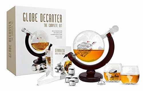 Brandy Set - Whiskey Decanter Set World Etched Globe Decanter Antique Ship Glasses  Tongs Bar Funnel Stopper Liquor Dispenser Spirits Scotch Bourbon Vodka Rum Wine Tequila Brandy Perfect Gift 850 ml