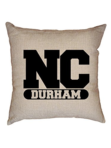 Hollywood Thread Durham, North Carolina NC Classic City State Sign Decorative Linen Throw Cushion Pillow Case with - Classic Sofa North Carolina