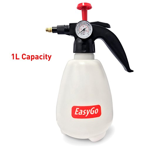 EasyGO Products EGP-SHO-007 Bottle 1 Liter (34 Ounces) Hand Pump Sprayer W/Pressure Gauge – Mister Setting-for Gardening, Fertilizing, Cleaning & General Use Spraying Water-Chemicals-P, 1-Liter