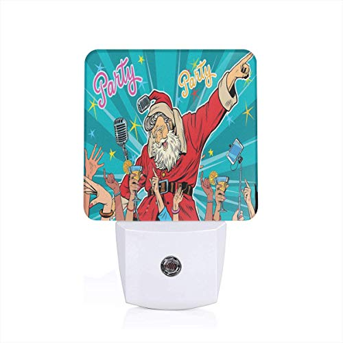 Colorful Plug in Night,Rock N Roll Singing Santa with Dancing People at Christmas Party Retro Pop Art Style,Auto Sensor LED Dusk to Dawn Night Light Plug in Indoor for Childs Adults