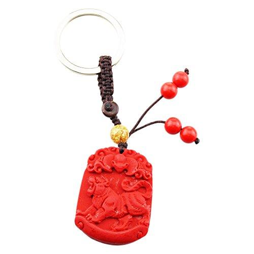 (FOY-MALL Unisex Cinnabar Carved Chinese Zodiac Tiger Keychain J1184)