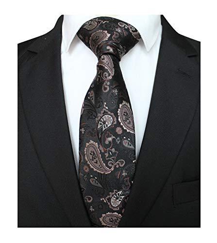 Men's Skinny Silk Ties Fashion Black Bronze Small Floral Wedding Dance Neckties