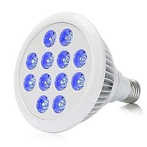 36W Blue LED Grow Light Bulb E26 E27 Par38 Plant Lamp for Greenhouse Indoor Plant Flower Veg Seeding Hydroponics Organic