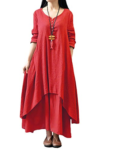 (Romacci Women Boho Dress Casual Irregular Maxi Dresses Layer Vintage Loose Long Sleeve Linen Dress with Pockets,X-Large,Red)