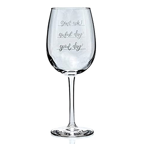 Funny Wine Glass Good day Awful day Don't Ask! 16 Oz Humorous Gift Idea For That Special Someone Novelty Present For Him or - Energy Gift Basket