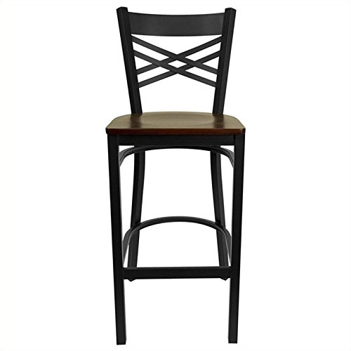 Flash Furniture HERCULES Series Black ''X'' Back Metal Restaurant Barstool - Mahogany Wood Seat