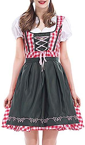 Damen Sexy Dessous Cosplay,2 STÜCK Frauen Bandage Piaid Bayerischen Oktoberfest Kostüme Barmaid Dirndl Kleid